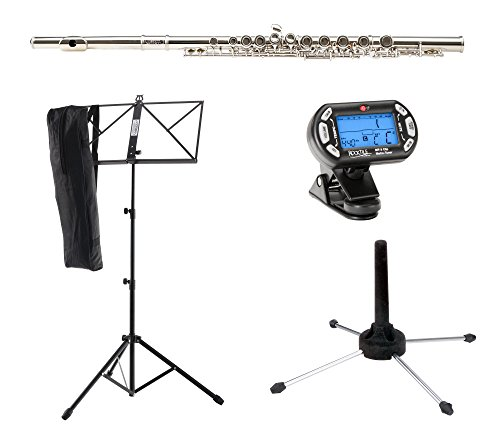 Classic Cantabile FL-100 Querflöte Starter-Set (Tolles Einsteigerinstrument, komplett aus vernickeltem Neusilber, inklusive Notenständer, Stimmgerät mit Metronom, Flötenständer, Etui, Zubehör) Silbern