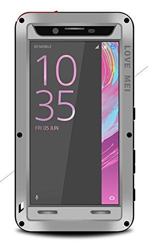 Spritz Wasserdichte Schutzhülle für Sony Xperia X Leistung (12,7 cm), Love Mei Marke Aluminium Material mit Tempered Glas Bildschirm Bezug (Silber)