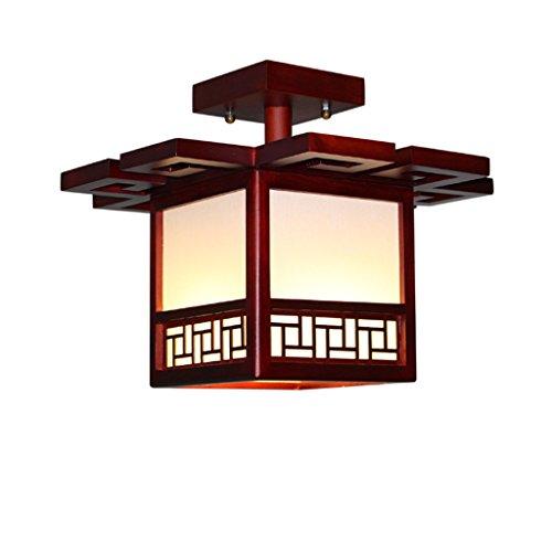 Style wei Ywyun Lámpara de Techo de Madera sólida Antigua Japonesa, lámpara de Techo Ahorro de energía Moderna Minimalista del Dormitorio Cuadrado del Pasillo del LED