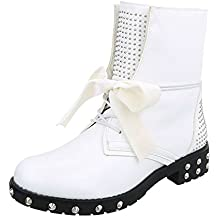 Zapatos para Mujer Botas Tacón Ancho Botines con Cordones Ital-Design