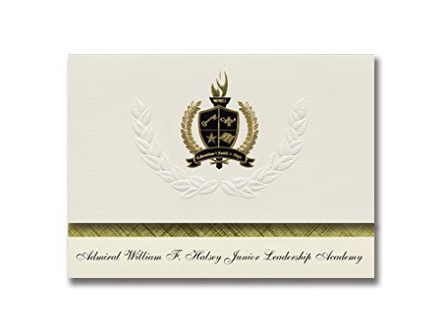 Signature Announcements Admiral William F. Halsey Junior Leadership Academy (Elizabeth, NJ) Graduation Announcements Presidential Basic Pack 25 mit goldfarbener und schwarzer Folienversiegelung