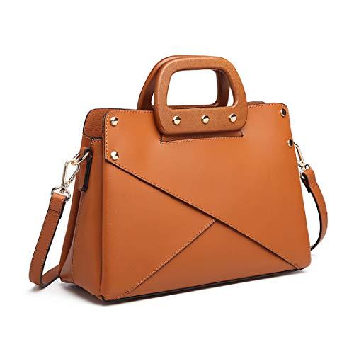 Miss Lulu Handtasche Damen LN6849 Holz-Griffe Umhängetasche Shopper Henkeltasche Tragentasche Retro (Braun) - Griff Designer-handtasche