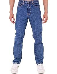 Super Basics New Mens Slim Fit Skinny Heavy Duty Mechanic Denim Jeans All Waist Sizes - Stonewash - 34W x 32L