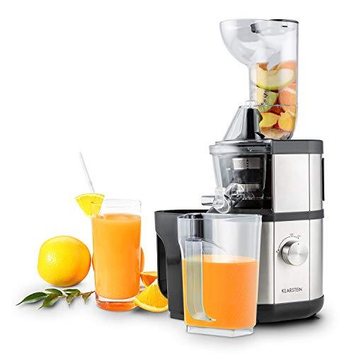 Klarstein Fruitberry • Entsafter • vertikale Saftpresse • große Einfüllöffnung • Edelstahl-Mikrosieb • Slow Juicer • 400 Watt • 60 U/min. • BPA-frei • 2 Behälter mit je 1000 ml • leise • silber
