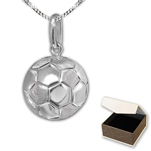 clever-schmuck-pendentif-3d-football-oe-12-mm-satine-mat-et-brillant-avec-chaine-50-cm-argent-925