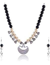 RAI COLLECTION Black Silver Strand Necklace Set For Women (RAI064)