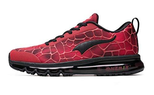 Onemix Herren Air Laufschuhe Sportschuhe mit Luftpolster Turnschuhe Leichte Schuhe Rot schwarz Größe 46 EU