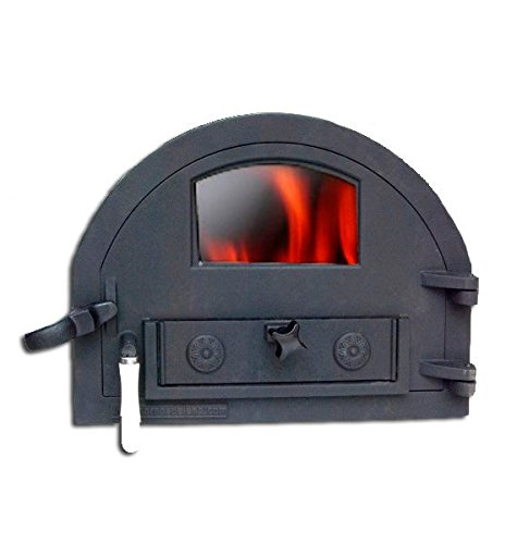 Puerta de fundición con cristal para horno de leña de tamaño medio (peso: 16...