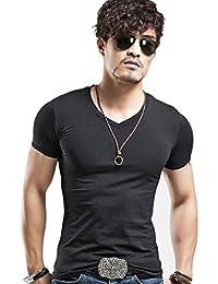DALUCI Fashion Men Slim Fit Cotton V-Neck Short Sleeve Casual T-Shirt