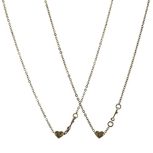 Lux Accessories Halsketten-Set, Gold, mit kleinen Herz-Anhängern mit der Aufschrift