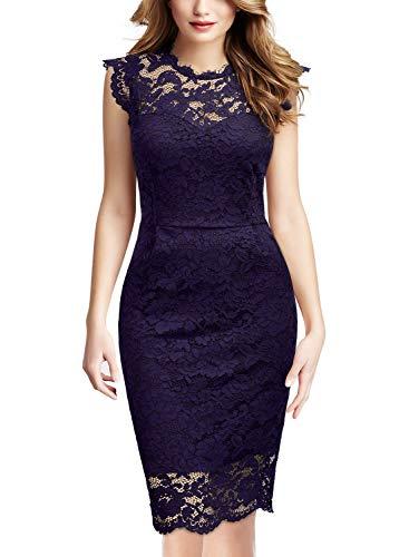 Miusol Damen Elegant Kleid Rundhals Knilanges Spitzenkleid Ball Stretch Abendkleider Magenta EU40