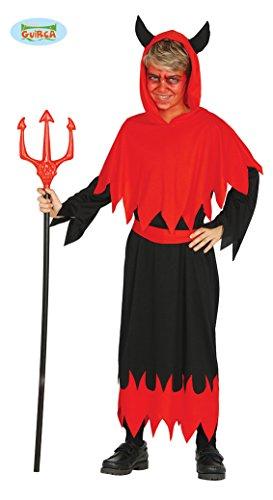 Guirca Teufel Halloween Kostüm für Kinder Teufelkostüm Jungen Schwarz Rot Gr. 98-146, Größe:140/146