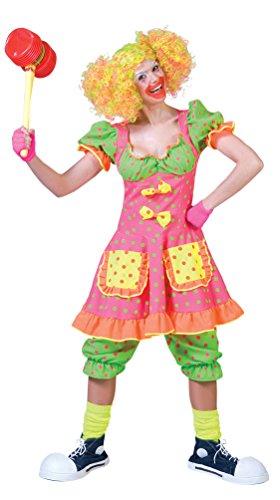 Karneval-Klamotten Clown-Kostüm Damen Clown-Kleid und Hose neon Farben Damen-Kostüm Größe 40/42