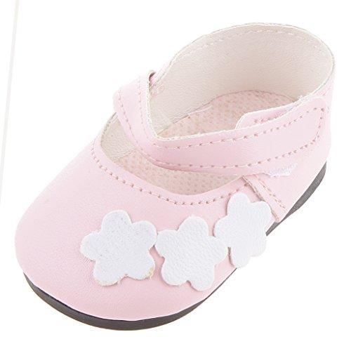 1 Paire De Rose Avec Fleurs Blanches Chaussures Plates Pour Poupées 18 Pouces Américain Accessoires