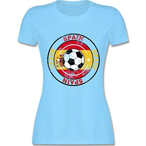 EM 2016 - Frankreich - Spain Kreis & Fußball Vintage - tailliertes Premium T-Shirt mit Rundhalsausschnitt für Damen Hellblau