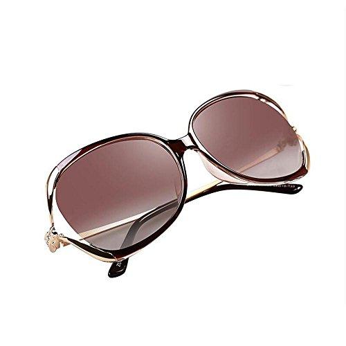 Sonnenbrillen Sonnenbrille Weibliche Art und Weise modisches rundes Gesicht Elegante großes Feld Hohle Diamant-Fahren polarisierten Sonnenbrillen Schütze Deine Augen