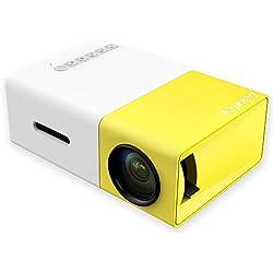 Mini Vidéoprojecteur, Deeplee Portable LED LCD Vidéoprojecteurs Théâtre avec entrée USB/SD/AV/HDMI pour Ordinateur Ordinateurs Portables PC USB Disk, de Film et de Jeu vidéo - Jaune