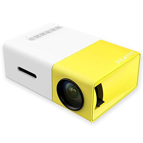 Mini Beamer,Deeplee Portable LED LCD Projektor Heimkino Theater mit PC Laptop USB / SD / AV / HDMI Eingang Pocket Projektor für Video Film Spiel Home Entertainment Projektor