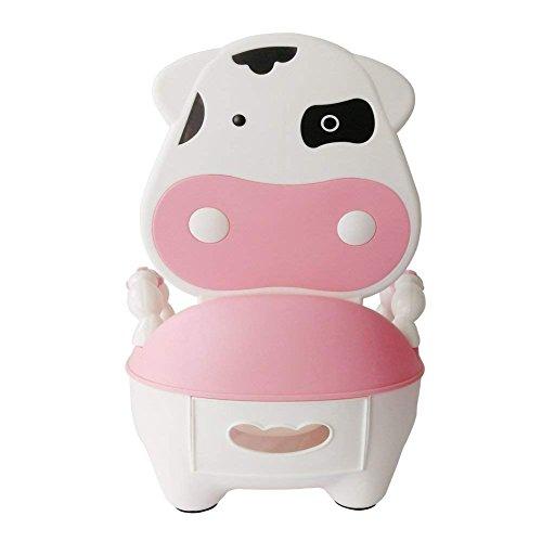 Bearhouse Vasino per Bimbi Bimbo Vasetto WC per Bambini Animali con Coperchio Mucca Rosa