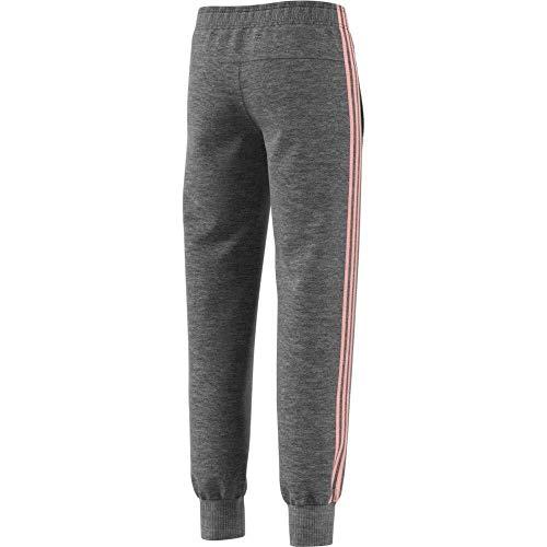 adidas Mädchen 3 Stripes Slim Hose, Dark Grey Heather/Haze Coral/White, 110