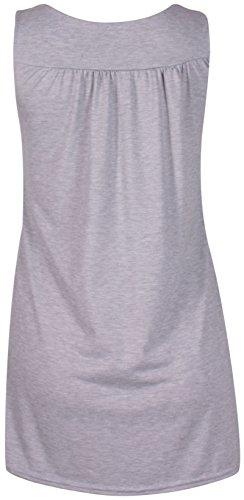 Femmes Sans Manches Femme Extensible Rond Encolure Ronde perlé Clou Gilet Long Tunique Haut T-Shirt Grande Taille Gris Clair