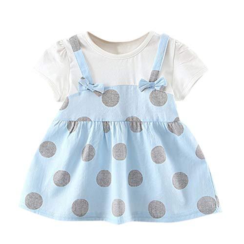 YWLINK Toddler Dress MäDchen Süß Volltonfarbe Blume T-Shirt-Kleid Kind Party MäDchen Prinzessin Kleider(Blau,18-24Monate)