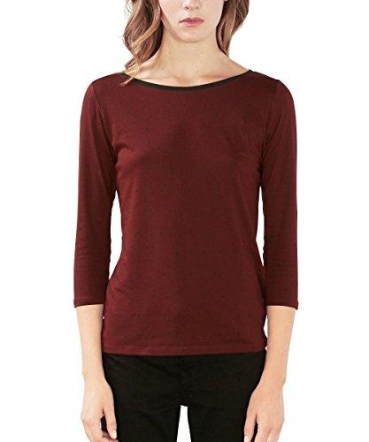 edc by Esprit 106cc1k032, T-Shirt Femme Rouge (Bordeaux Red)