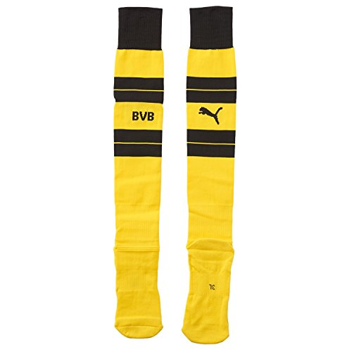 PUMA Erwachsene BVB Hooped Socks Stutzen, Cyber Yellow-Black, 3