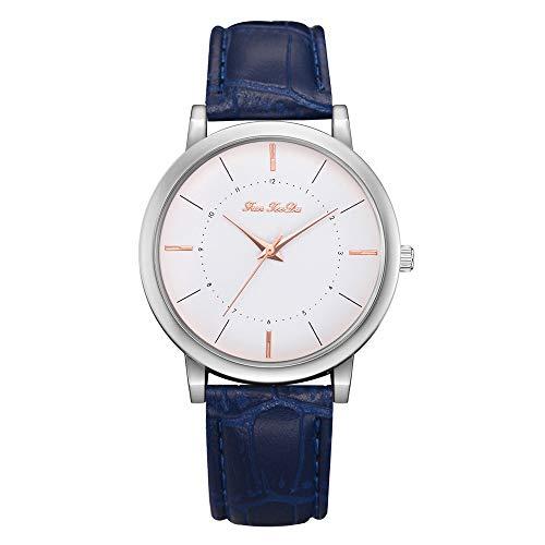 Lazzgirl Mode Frauen Mädchen Damen Leder Uhren NEU(Blau,One Size) -