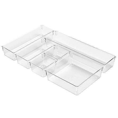 Modulare Breite Schublade (InterDesign Basic Schubladenbox, kleiner Schubladeneinsatz aus Kunststoff, 6er-Set Aufbewahrungsbox, durchsichtig)