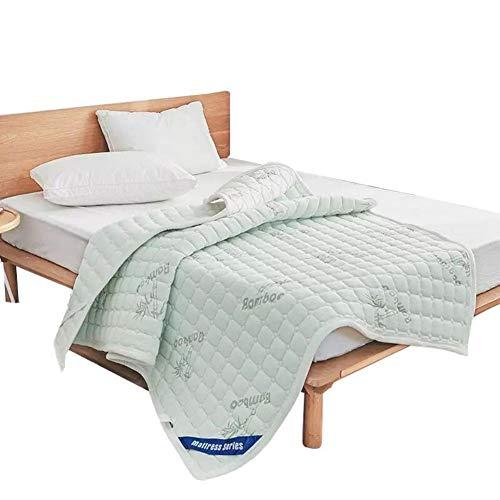 nke Bambus-Faser Matratzenauflagen, Anti-rutsch Gesteppter Bett Matratzenauflage Student Schlafsaal Memory-Schaum Ultra Soft Allergiker Nap Mat-a 90x200cm ()