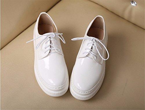 Nouvelles Femmes Plateforme Chaussures Casual Korean Dentelle Jusqu'A Pantshoes Chaussures En Cuir Simples Blanc