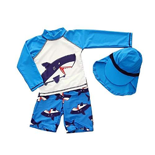 Lridsu 3 pezzi/set costume da bagno a manica lunga diviso bambini scherzo stampa protezione solare muta per sport acquatici (blu)