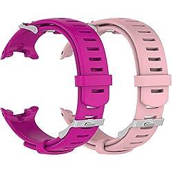 Ruentech Suunto D4/D4i Novo de remplacement Band Bracelet en silicone (chaque couleur avec une sangle d'extension et d'un ensemble de vis pour gratuit), 2-R