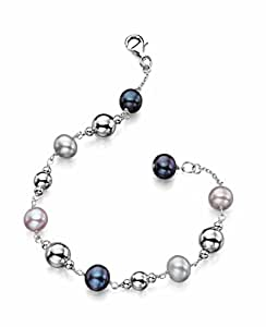 Elements Sterling Silver Ladies' B3944 Multi Colour Pearl and Silver Beads Bracelet Length 20cm