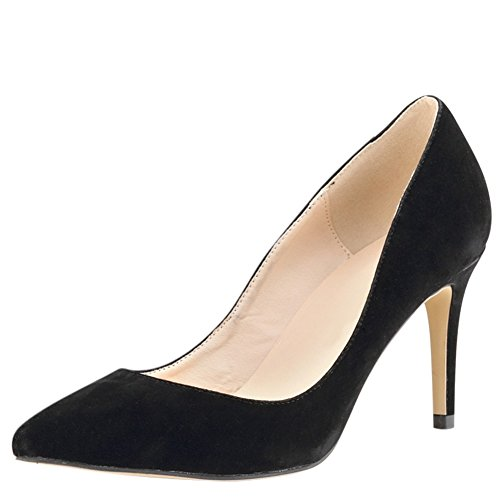 OCHENTA Femme Escarpin Suedine Classique Talon Aiguille A Enfiler Chaussures Plusieurs Couleur Noir
