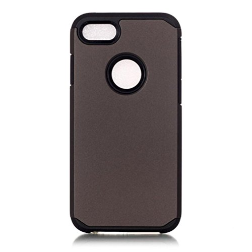 Koly De alta calidad PC + TPU caso de la cubierta de piel para el iPhone 7 Plus de 5.5 pulgadas,gris oscuro
