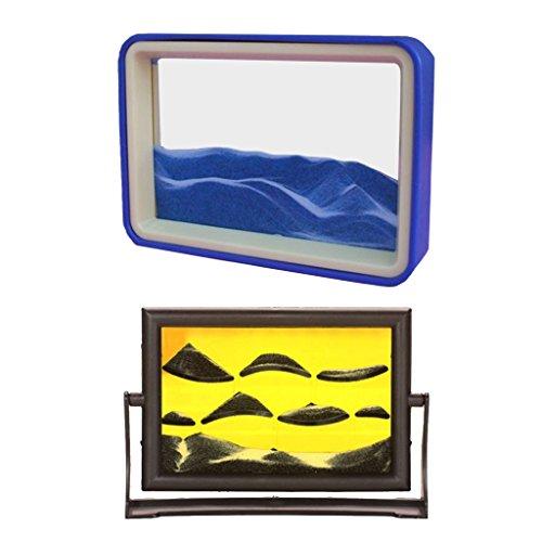 T TOOYFUL 2 Stücke Fließenden Sand Zeichnung Flüssigkeit Bewegung Timer Stressabbau Sanduhr Visuell