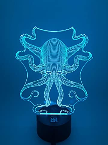 YOUQIZHI® 3D Optical Illusion octopus Panel Model Lighting Night 7 Color Change USB Touch button LED Desk Table Light Lamp