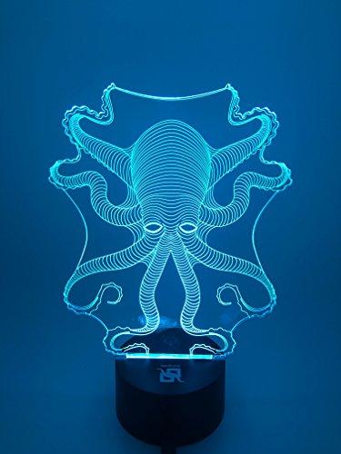 YOUQIZHI 3D LED Erstaunliche Licht visuelle Effekte Sieben Farben verwandeln Oktopus Kunst Skulptur Lights Up Schalter USB powered Geschenk