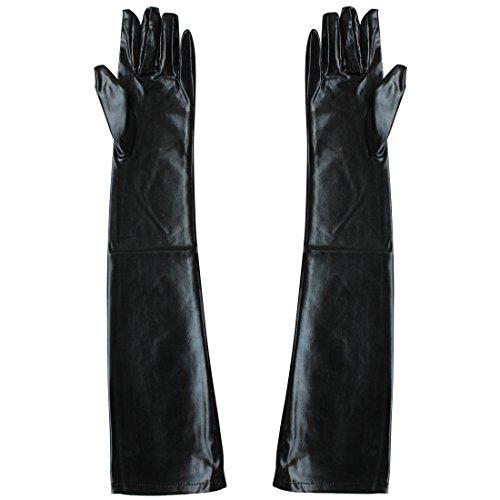 Tiaobug Gothic Lange Leder-Optik Handschuhe Wetlook In Schwarz Damen Metallic Handschuhe - 3