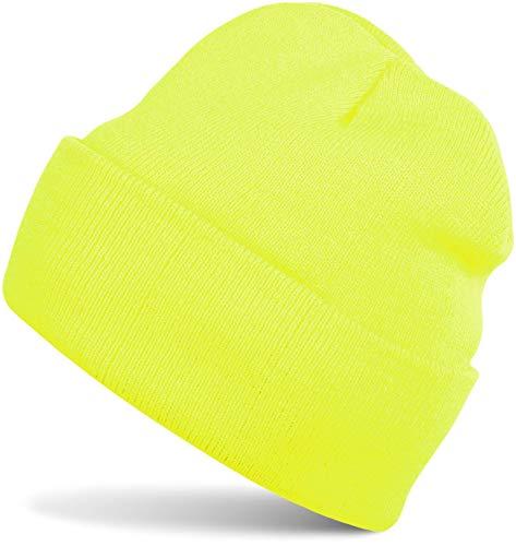 Stylebreaker cuffia beanie classica in maglia, calda cuffia in maglia fine doppia, unisex 04024029, colore:giallo neon