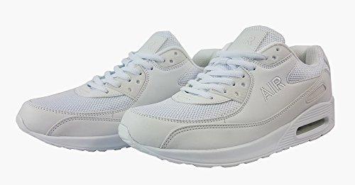 Unisex Running Trainer Casual Lace Gym Walking Jungen Sportschuhe, Gewebe, W/Grey/Black, UK7 / EUR 41 Weiß