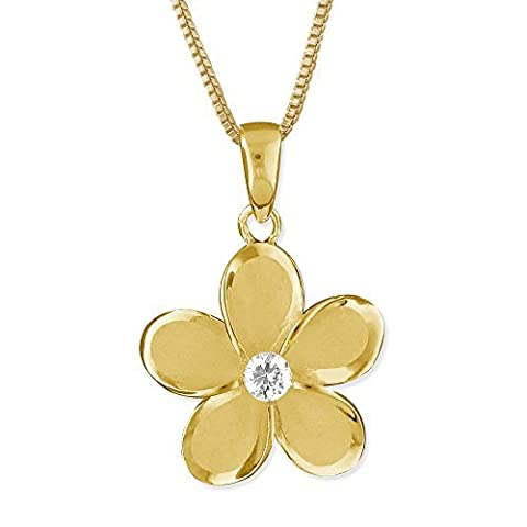 14kt Yellow Gold Plated Sterling Silver 15mm Plumeria Pendant Necklace, 16+2 Extender by Hawaiian Silver