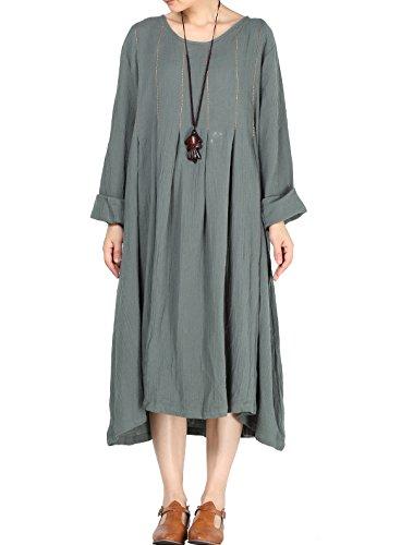 MatchLife Femmes O-Cou Manches Longues Robe Gris Bleu