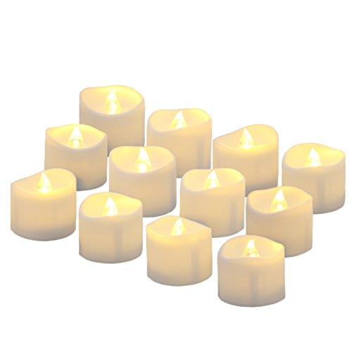 Benvo LED flammenlose Kerzen, 3.8cm elektrische flackernde batteriebetriebene teelichter, LED votivkerzen warme weiße, 12 Pack -