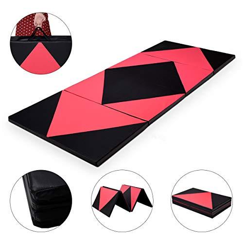 COSTWAY Weichbodenmatte klappbar | Gymnastikmatte rot | Yogamatte verbindbar | Turnmatte groß | Klappmatte | Fitnessmatte 300x120x5