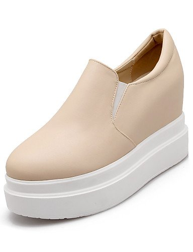 ZQ Scarpe Donna Finta pelle Plateau Plateau/Punta arrotondata Mocassini Casual Nero/Bianco/Beige , white-us4-4.5 / eu34 / uk2-2.5 / cn33 , white-us4-4.5 / eu34 / uk2-2.5 / cn33 black-us3.5 / eu33 / uk1.5 / cn32