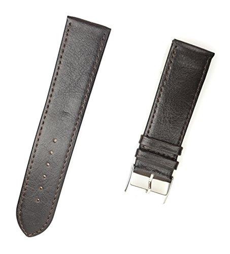 Uhrenarmband aus echtem Leder 24 mm Braun Glatt - 24mm Uhren Armband
