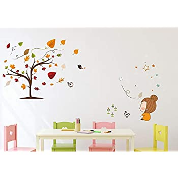 Amazon Brand - Solimo Wall Sticker for Living Room (Autumn is Here, Ideal Size on Wall - 140 cm x 70 cm)